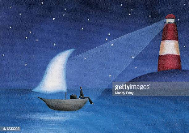 businessman sitting on a boat at sea illuminated by a lighthouse - mandy pritty stock illustrations