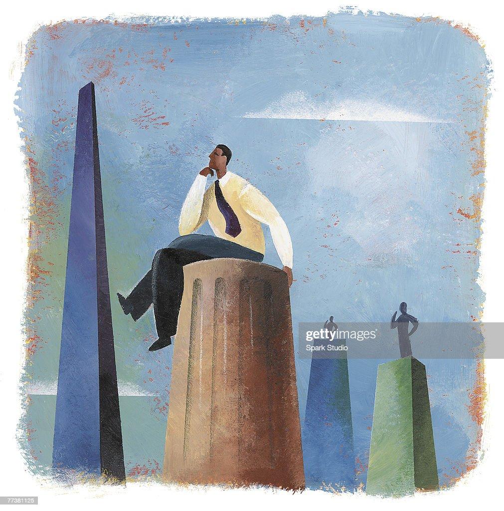 A businessman sitting on top of a column : Illustration