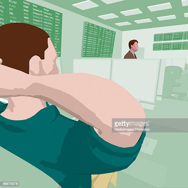 Businessman sitting with his hands behind his head at the stock exchange
