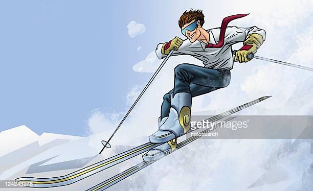 businessman skiing down hill - ski goggles stock illustrations, clip art, cartoons, & icons