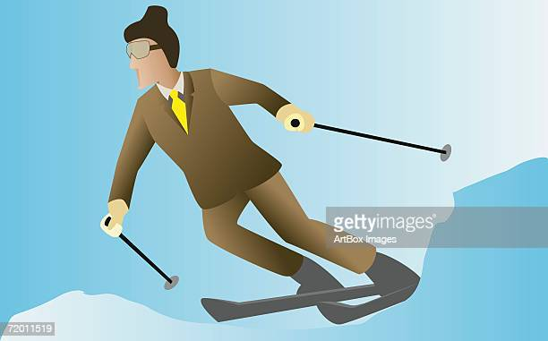 businessman skiing - ski goggles stock illustrations, clip art, cartoons, & icons