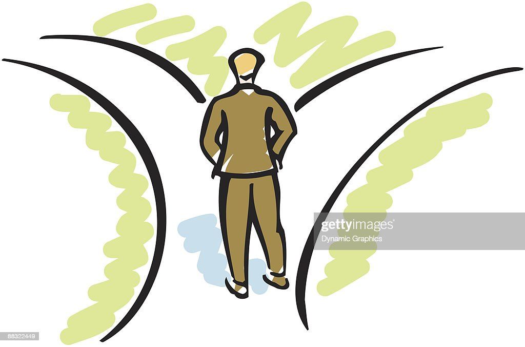 Businessman standing at fork in the road Color : stock illustration