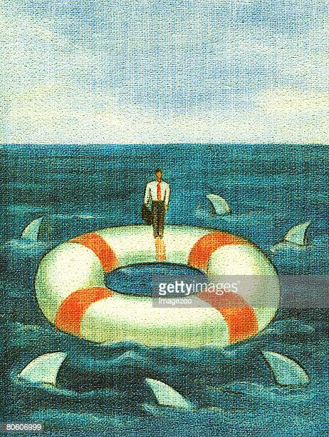 a businessman standing on a lifesaver that is surrounded by sharks - surrounding stock illustrations, clip art, cartoons, & icons