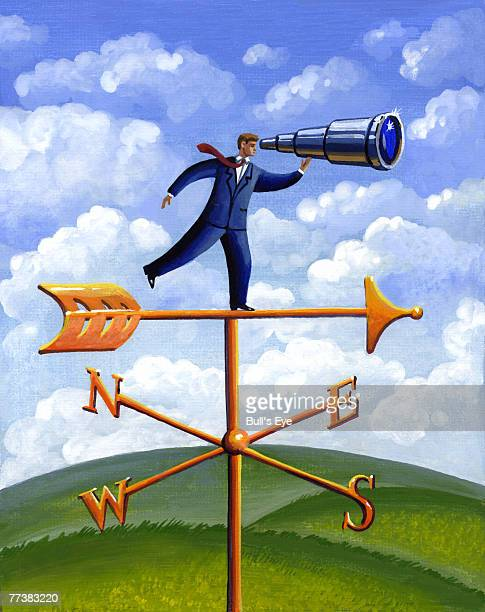 A businessman standing on a weather vane and looking through a telescope