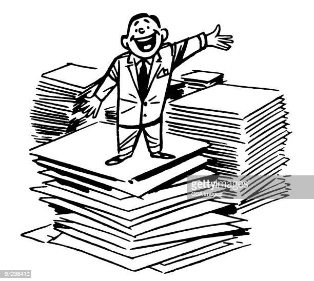 businessman standing on stack of documents - stack stock illustrations
