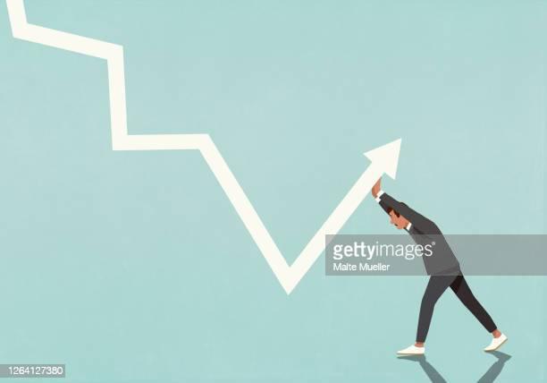businessman struggling to move data arrow upwards - full length stock illustrations