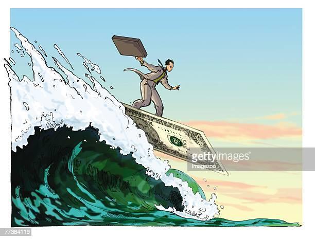 businessman surfing on a dollar surf board - cash flow stock illustrations, clip art, cartoons, & icons