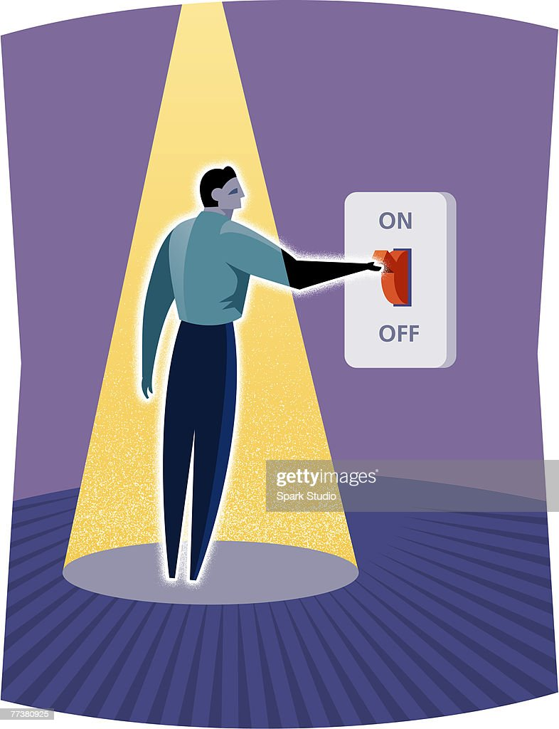 A businessman switching on the light : stock illustration