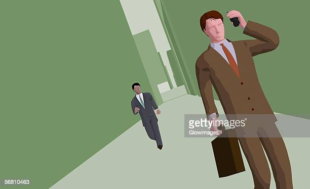 businessman talking on a cordless phone - full suit stock illustrations