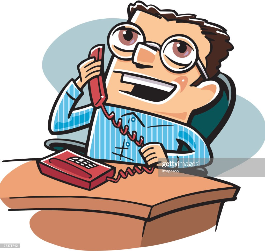 businessman talking on the phone : Illustration