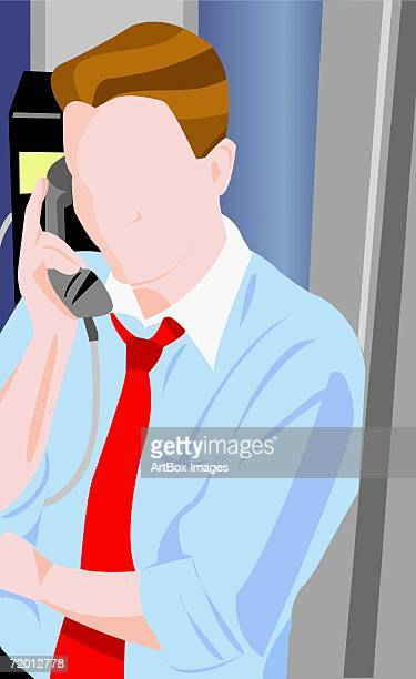 businessman talking on the telephone - phone cord stock illustrations