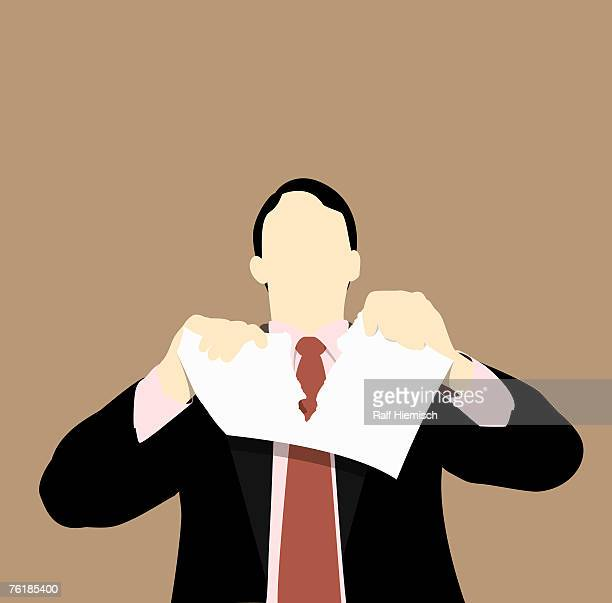 a businessman tearing up a document - paperwork stock illustrations