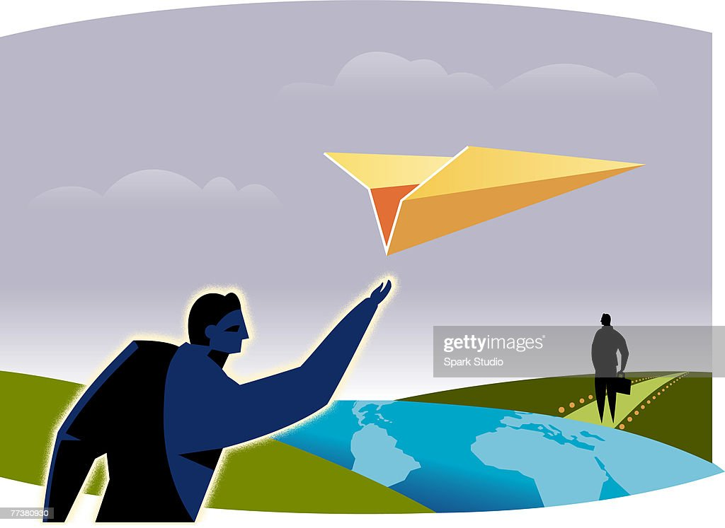 A businessman throwing a paper airplane : Illustration