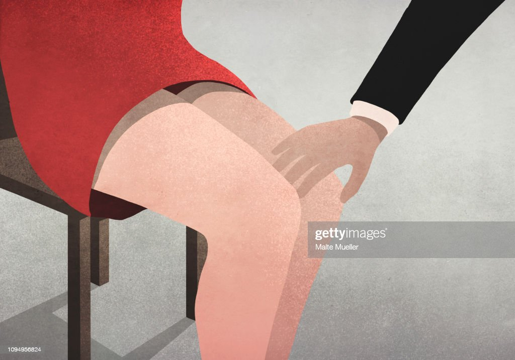 Businessman touching womans knee : stock illustration