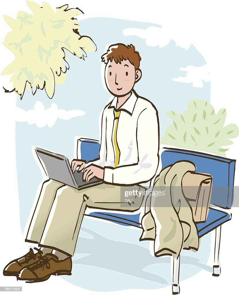 Businessman Using Laptop On His Thighs Sitting Bench Side View Vector Art