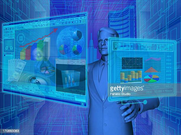 Businessman using virtual screens for financial activities