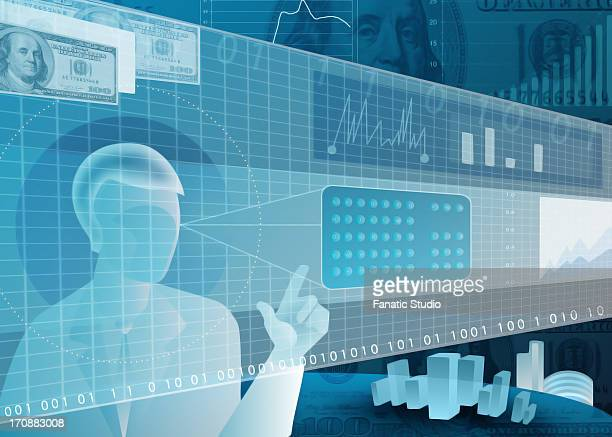 Businessman using virtual touch screen for online trading