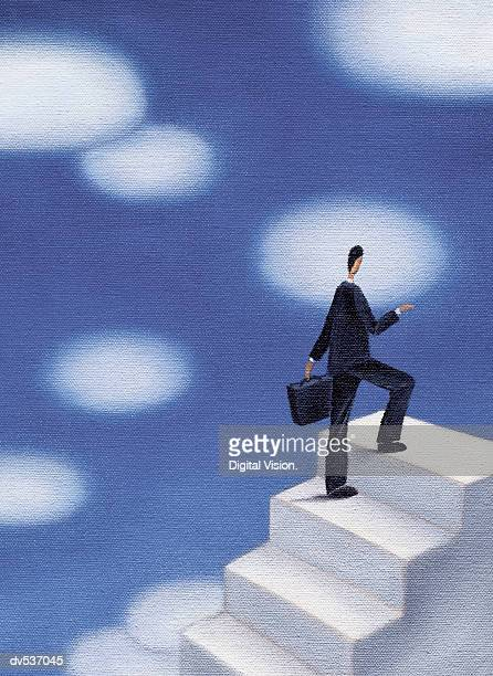 businessman waling up stairs - stepping stock illustrations, clip art, cartoons, & icons