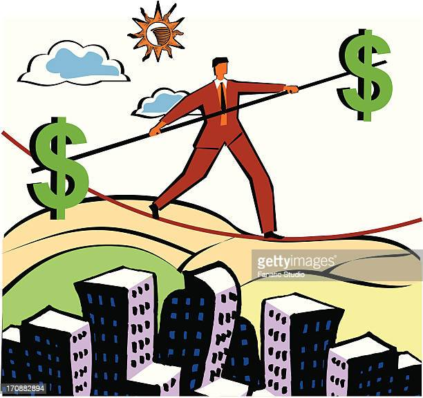businessman walking on a tightrope with a pole with dollar signs on ends - shank stock illustrations, clip art, cartoons, & icons