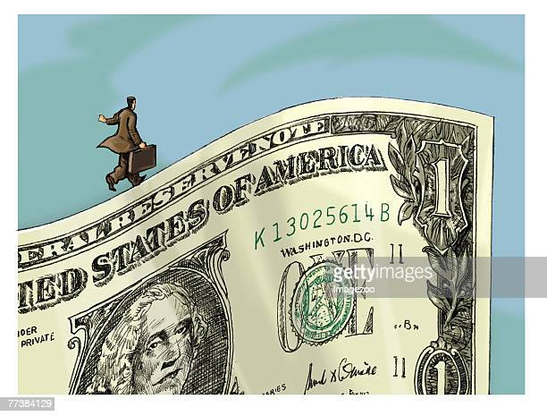 businessman walking on the edge of a dollar bill - american one dollar bill stock illustrations, clip art, cartoons, & icons