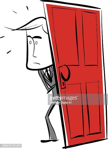 ilustraciones, imágenes clip art, dibujos animados e iconos de stock de businessman walking through doorway - un solo hombre