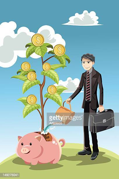 A businessman watering a money tree growing out of a pig