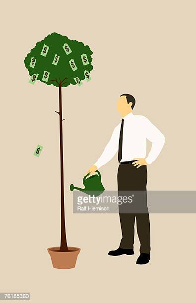 a businessman watering a money tree - anticipation stock illustrations