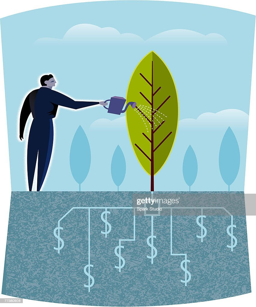 A businessman watering a tree : Ilustración de stock