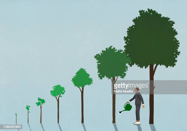 businessman watering growing trees with watering can - illustration stock illustrations