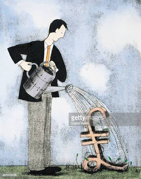 businessman watering pound sign - landscaper professional stock illustrations, clip art, cartoons, & icons