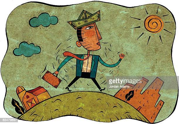 businessman wearing a money hat,   walking to work in the city - paycheck stock illustrations, clip art, cartoons, & icons