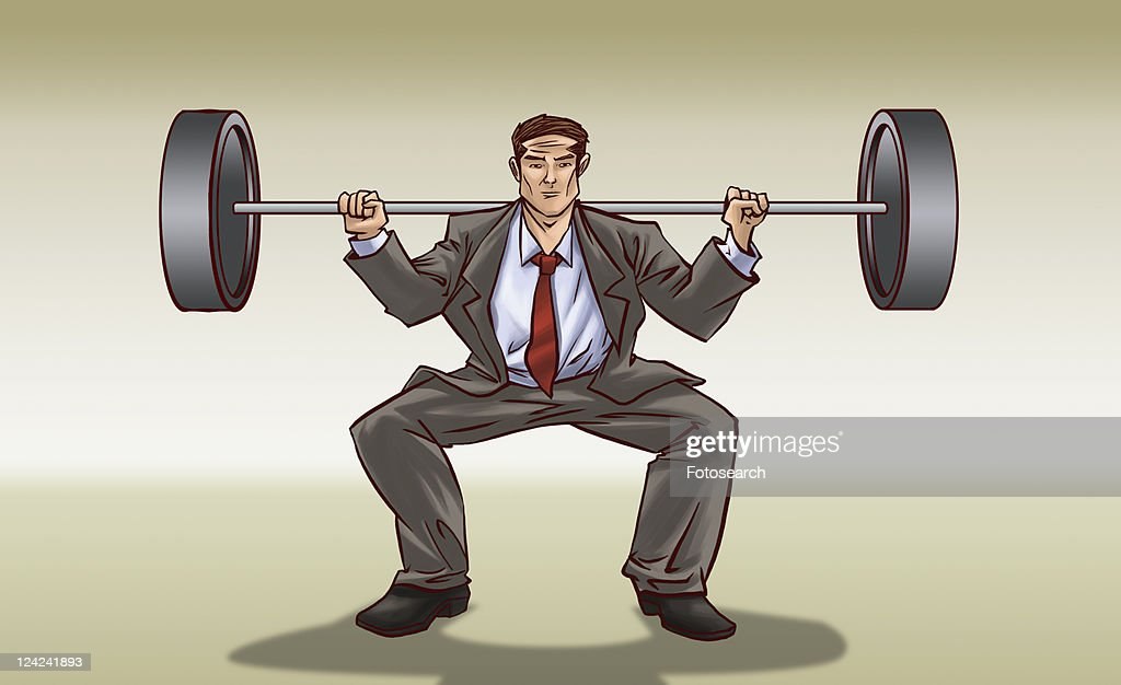 Businessman weightlifting : stock illustration