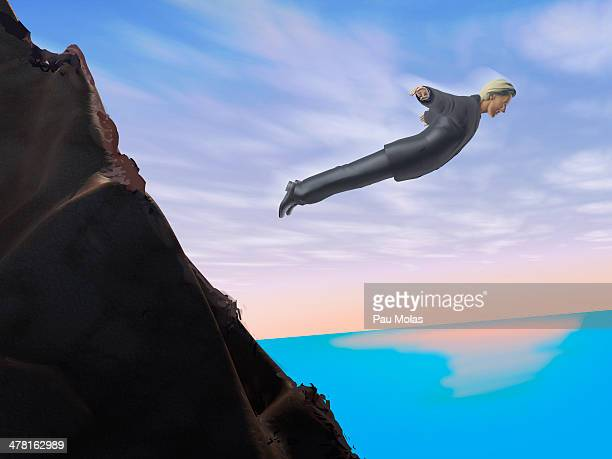 ilustraciones, imágenes clip art, dibujos animados e iconos de stock de a businessman who has jumped off a cliff - suicidio