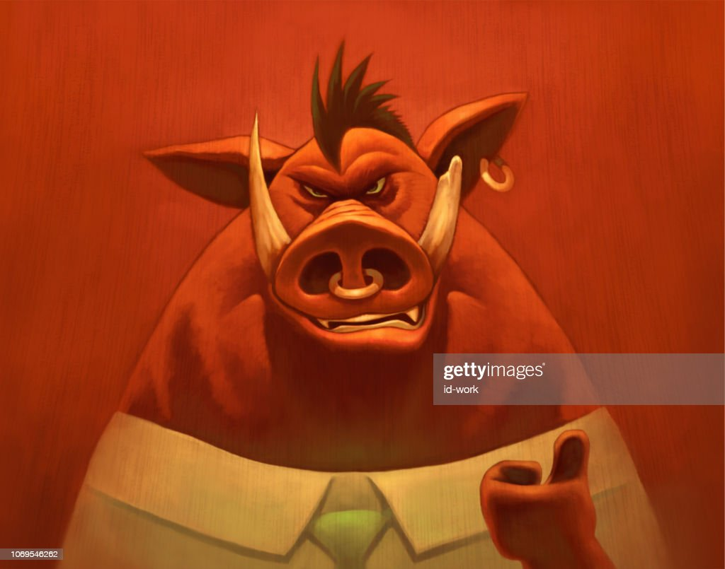 businessman wild boar giving thumbs up : stock illustration