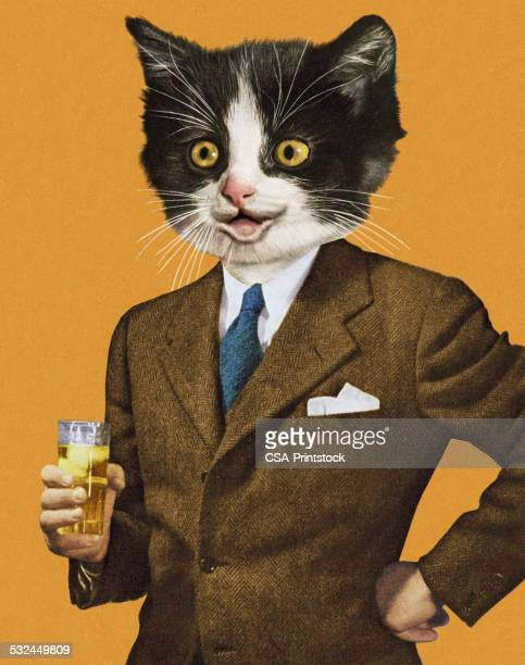 Businessman with a Cat Head