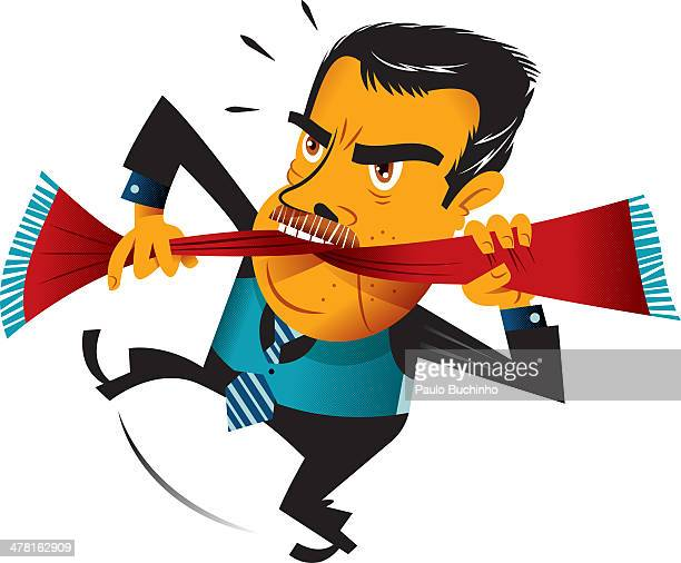 a businessman with a scarf in his mouth - standing on one leg stock illustrations, clip art, cartoons, & icons
