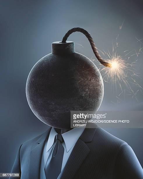ilustraciones, imágenes clip art, dibujos animados e iconos de stock de businessman with bomb for head - bomba