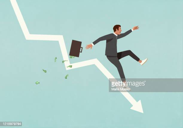 businessman with briefcase falling in recession - börsenhandel finanzberuf stock-grafiken, -clipart, -cartoons und -symbole