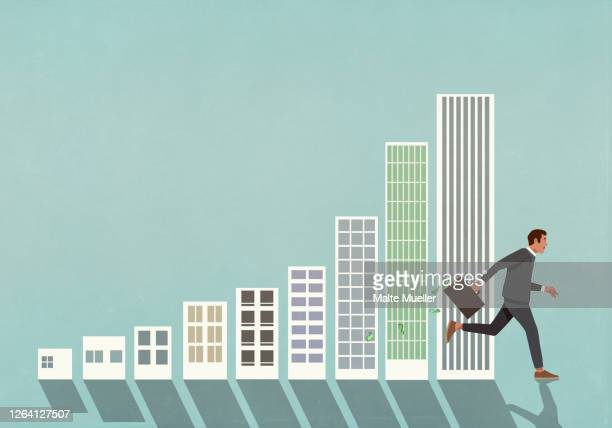 businessman with briefcase of money running past buildings bar chart - development stock illustrations