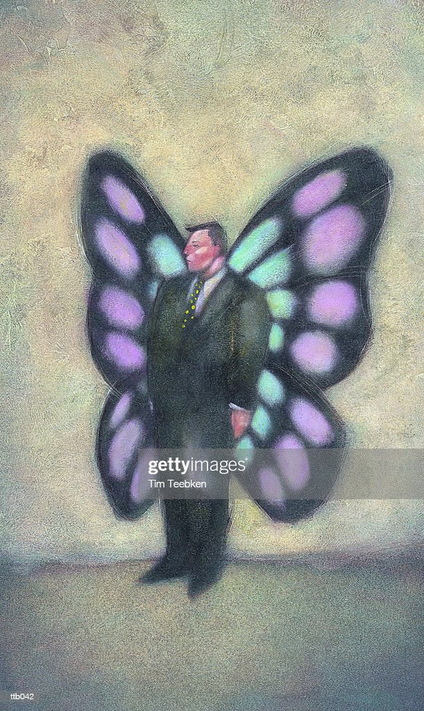 Businessman with Butterfly Wings : Stock Illustration