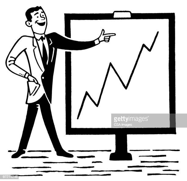 businessman with chart showing growth - graph stock illustrations