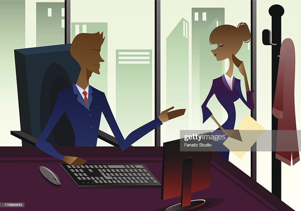 Businessman with his secretary in an office : stock illustration