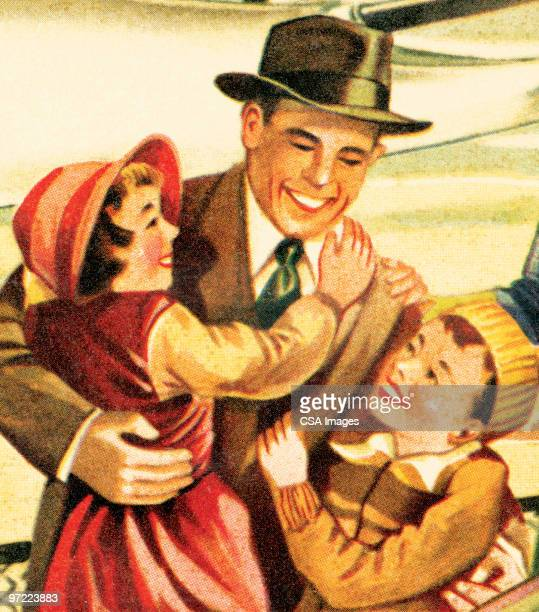 businessman with kids - embracing stock illustrations