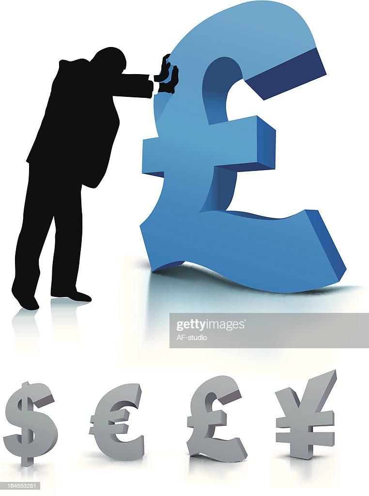 Businessman with pound symbol
