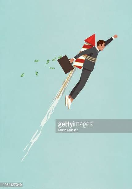 businessman with rocket accelerating upwards - motivation stock illustrations