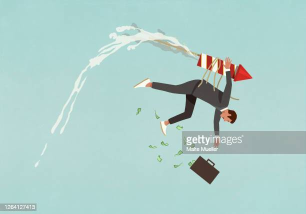 businessman with rocket strapped to back falling from sky - stock market crash stock illustrations