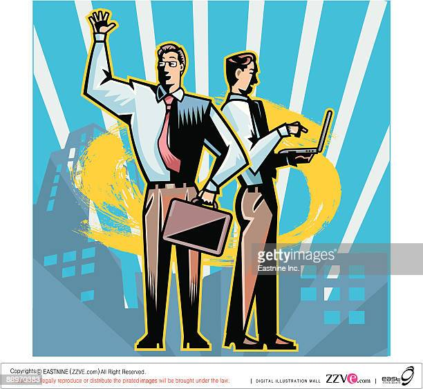 businessman with suitcase waving, while other man standing besides, working on laptop - other stock illustrations, clip art, cartoons, & icons