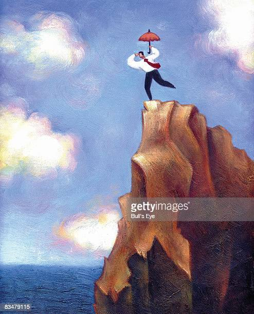 businessman with umbrella looking down over the edge of a cliff - steep stock illustrations, clip art, cartoons, & icons