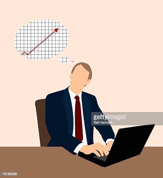 a businessman working at a desk and thinking of a line graph - coat stock illustrations
