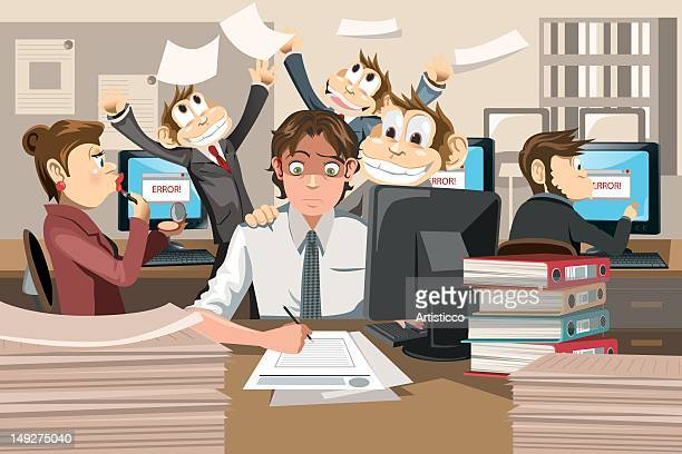 a businessman working with a bunch of monkeys - office politics stock illustrations, clip art, cartoons, & icons